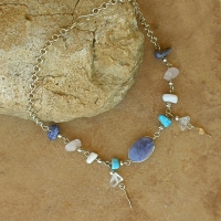 Blue Sodalite & Colored Stone Anklet