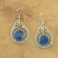 NEW Natural Stone Earrings | Sun Circle | Sodalite