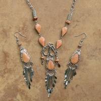 SALE Stone Necklace & Earring Set | Five Stone | Jasper
