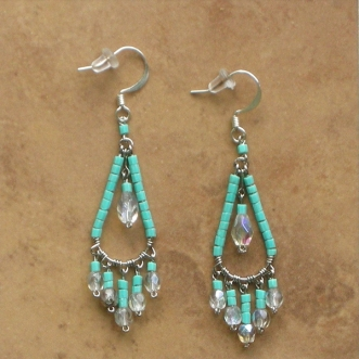 Beaded chandelier earrings handcrafted bead jewelry turquoise beaded chandelier earrings turquoise sm mozeypictures Choice Image