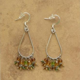 Beaded Chandelier Earrings Olive Brown Sm