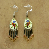 Bird Jewelry | Painted Bunting Earrings | Hook