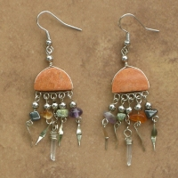 Peruvian Stone Earrings | Half Moon & Crystal