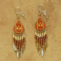 Peruvian Painted Earrings | Rust & Gold