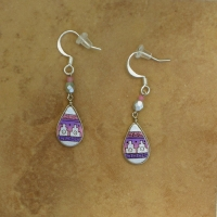 Small Peruvian Earrings | Pink & Silver