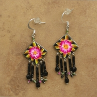 Tropical Floral Jewelry | Pink Bromiliad Earrings | Hook