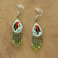 Bird Jewelry | Scarlet Tanager Earrings | Hooks