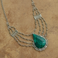 Semi Precious Medallion Stone Necklace | Malachite