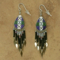 NEW Peru Beaded Earrings | Purple & Emerald