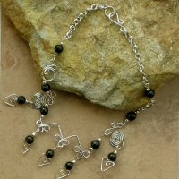 Cat's Eye Beaded Anklet | Black