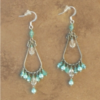 NEW Crystal Chandelier Earrings | Turquoise Pearl | Lg