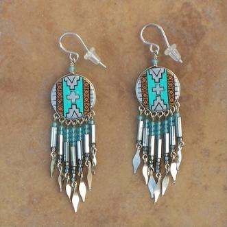 Peru Southwestern Earrings Silver Turquoise