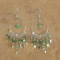 Gemstone Beaded Earrings | Adventurine Hoops