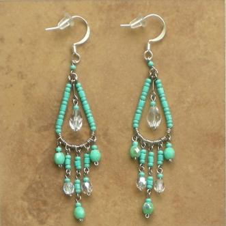 Beaded Chandelier Earrings Aqua Green Sm