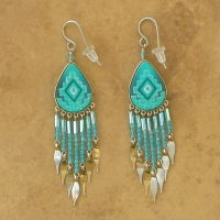 Peruvian Painted Earrings | Turquoise