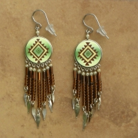 Peru Southwestern Earrings | Green & Brown