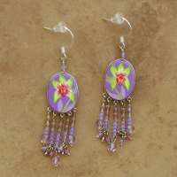 Tropical Floral Jewelry | Lime Orchids Earrings | Hook