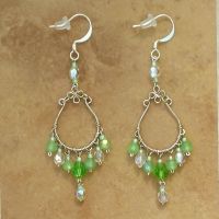 Crystal Chandelier Earrings | Green Frost | Lg