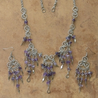 SALE / Filigree & Stone Chips Jewelry Set | Amethyst