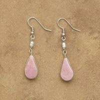 Natural Gemstone Earrings | Drop & Pearl | Rose Quartz