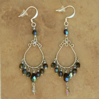 Crystal Chandelier Earrings | Black Iris | Lg