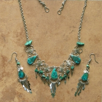 SALE / Gemstone Necklace Set | Daisy Chain | Chrysocolla