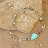Colored Stone Chip Anklet | Amazonite