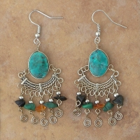 Gemstone Beaded Earrings | Confetti Chip Chrysocholla