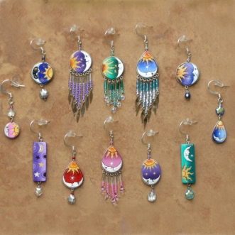 Celestial Jewelry | Sun & Moon Earrings | Wholesale Dz | B Pack