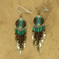 Peru Southwestern Earrings Brown Teal
