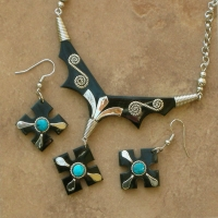Carved Horn Jewelry Set | Cross