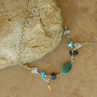 Crysocholla & Multi Color Stone Anklet
