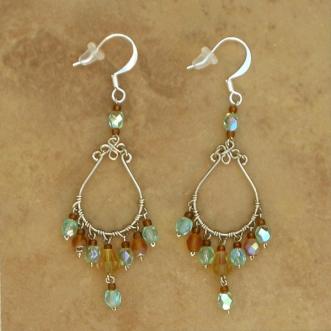 Crystal chandelier earrings aqua handcrafted wirework jewelry crystal chandelier earrings amber aqua lg aloadofball Image collections