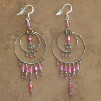 Crystal Chandelier Earrings | Soft Pink | Lg