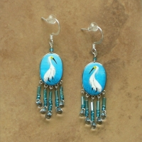 Bird Jewelry | Snowy Egret Earrings | Hook