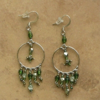Beaded Chandelier Earrings | Olive Green | Sm