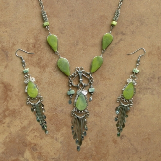 SALE Stone Necklace & Earring Set | Five Stone | Lt.Green