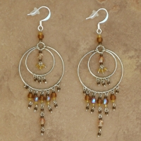 Crystal Chandelier Earrings | Soft Brown | Lg
