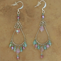 Crystal Chandelier Earrings | Lilac & Aqua | Lg