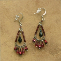 Beaded Chandelier Earrings | Red & Black | Sm